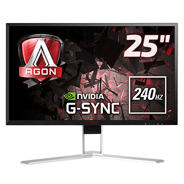 """AOC 24.5"""" LED - AGON AG251FG G-SYNC 1920 x 1080 pixels - 1 ms (gris à gris) - Format large 16/9 - 240 Hz - G-SYNC - DisplayPort - HDMI - Pivot - Hub USB - Noir/Rouge/Argent"""