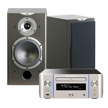 Marantz Melody Stream M-CR611 Argent Or + Cabasse Antigua MT360 Wengué Mini-système stéréo réseau CD, Wi-Fi, Bluetooth, NFC, AirPlay, DLNA et USB + Enceinte bibliothèque (par paire)