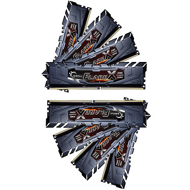 G.Skill Flare X Series 128 Go (8x 16 Go) DDR4 2933 MHz CL14 Kit Quad Channel 8 barrettes de RAM DDR4 PC4-23400 - F4-2933C14Q2-128GFX