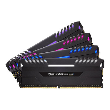 Corsair Vengeance RGB Series 32 Go (4x 8 Go) DDR4 3200 MHz CL16 Kit Quad Channel 4 barrettes de RAM DDR4 PC4-25600 - CMR32GX4M4C3200C16 (garantie à vie par Corsair)