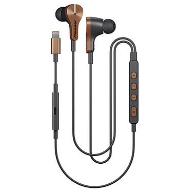 Pioneer RAYZ Plus Bronze Ecouteurs intra-auriculaires avec réduction de bruit active et connecteur Lightning compatibles iPhone/iPad/iPod