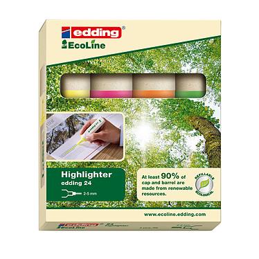 Edding EcoLine e24 - set de 4 couleurs Surligneurs permanents avec pointe biseauté 2 - 5 mm ( jaune, orange, rose et vert)