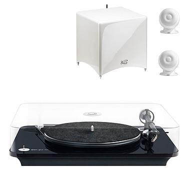 Elipson Omega 100 RIAA Noir + Cabasse Stream 3 Blanc Platine vinyle à 2 vitesses (33-45 trs/min) avec pré-ampli intégré + Enceintes 2.1 DLNA (Ethernet/Wi-Fi) et Bluetooth