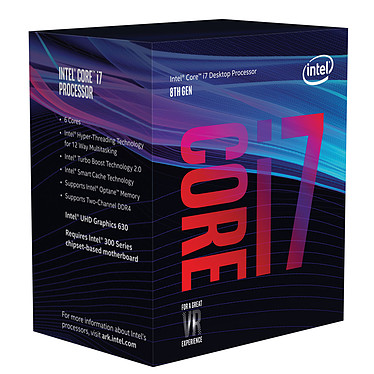 Intel Core i7-8700 (3.2 GHz) Processeur 6-Core Socket 1151 Cache L3 12 Mo Intel UHD Graphics 630 0.014 micron (version boîte - garantie Intel 3 ans)