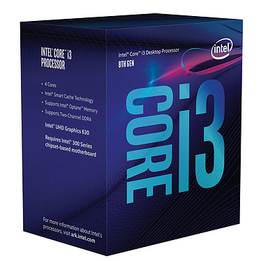 Intel Core i3-8300 (3.7 GHz) Processeur Quad Core Socket 1151 Cache L3 8 Mo Intel UHD Graphics 630 0.014 micron (version boîte - garantie Intel 3 ans)