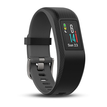 Garmin vívosport Gris Small/Medium Bracelet connecté étanche avec cardio poignet, GPS, tracker d'activité, Bluetooth, écran tactile couleur et notifications (iOS, Android, Windows)