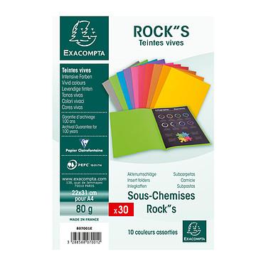 Exacompta Sous-Chemises Rock''s 80 - 22 x 31 cm x 30 Lot de 30 sous-chemises en carte 80 g format 22 x 31 cm assorties