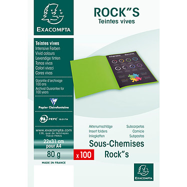 "Acheter Exacompta Sous chemises Rock""s 80 Blanc x 100"
