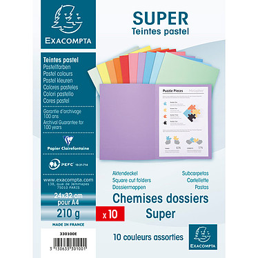 Avis Exacompta Chemises Super Assortis x 10