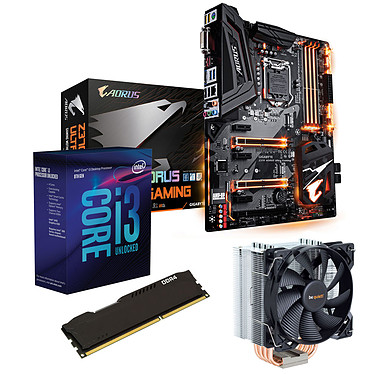 Kit Upgrade PC Core i3K Gigabyte Z370 AORUS Ultra Gaming 4 Go Carte mère Socket 1151 Intel Z370 Express + CPU Intel Core i3-8350K (4.0 GHz) + RAM 4 Go DDR4 + ventirad