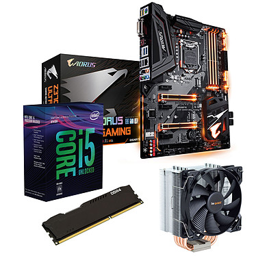 Kit Upgrade PC Core i5K Gigabyte Z370 AORUS Ultra Gaming 4 Go Carte mère Socket 1151 Intel Z370 Express + CPU Intel Core i5-8600K (3.6 GHz) + RAM 4 Go DDR4 + ventirad