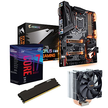 Kit Upgrade PC Core i7 Gigabyte Z370 AORUS Ultra Gaming 8 Go Carte mère Socket 1151 Intel Z370 Express + CPU Intel Core i7-8700K (3.7 GHz) + RAM 8 Go DDR4 + ventirad