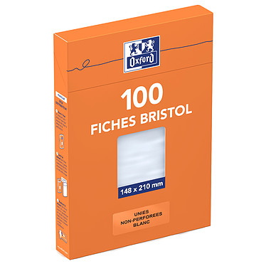 Oxford Boite de 100 fiches Bristol 148 x 210 mm unis blancs