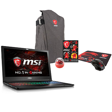 "MSI GS63 7RD-059FR Stealth + Pack MSI Back to School OFFERT ! Intel Core i7-7700HQ 16 Go SSD 256 Go 15.6"" LED Full HD NVIDIA GeForce GTX 1050 2 Go Wi-Fi AC/Bluetooth Webcam Windows 10 Professionnel 64 bits (garantie constructeur 2 ans)"