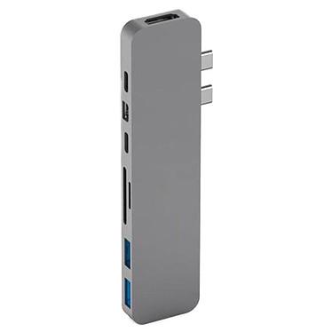 HyperDrive Pro Duo Gris Adaptateur 2 x USB-C vers HDMI 4K, mini DisplayPort 4K, USB-C 100W, USB-C 60W, SD, microSD et 2x USB 3.1