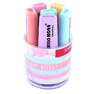 STABILO Boss Original -  Pot de 6 surligneurs pastel assortis Pot de 6 surligneurs pastel à encre fluorescente universelle à pointe biseautée de 2 à 5 mm