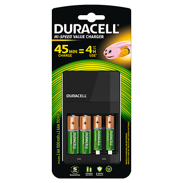 Duracell Hi-Speed Value Charger Chargeur de piles AA/AAA avec indicateur de charge + 4 piles rechargeables AA et AAA