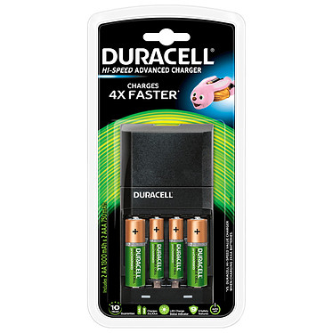 Duracell Hi-Speed Advanced Charger Chargeur de piles AA/AAA avec indicateur de charge + 4 piles rechargeables AA et AAA