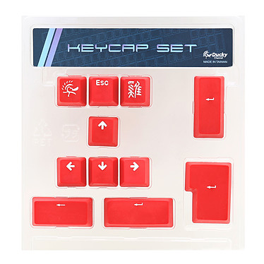 Ducky Channel ABS Keycap Set (rouge) Lot de 11 touches de remplacement en ABS pour clavier mécanique à switches Cherry MX (AZERTY, Français)