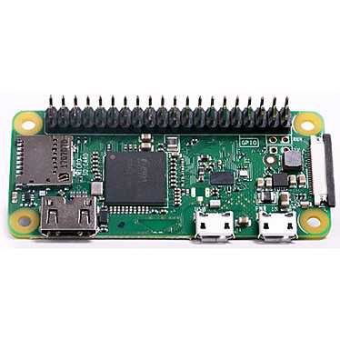 Raspberry Pi Zero WH Carte mère ultra-compacte avec processeur ARM11 Broadcom BCM2835 Single Core 1 Ghz- RAM 512 Mo -  mini HDMI - 2 x micro USB - CSI - micro-SD - Bluetooth 4.1 - Wi-Fi b/g/n - GPIO soudé