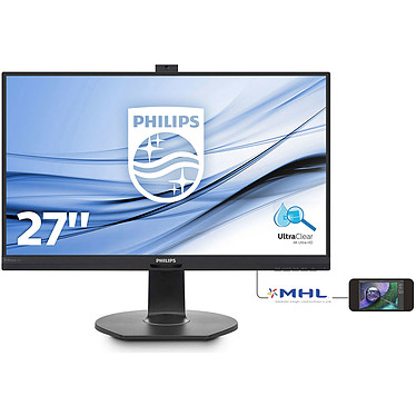 "Philips 27"" LED - 272P7VPTKEB 3840 x 2160 pixels - 5 ms (gris à gris) - Format large 16/9 - Dalle IPS - mini DP 1.2 - DP 1.2 - HDMI 2.0 - MHL 2.0 - Hub USB 3 Ports - Webcam - Noir"
