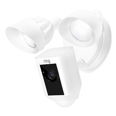 Ring Floodlight Cam Blanc Caméra de surveillance HD sans fil avec détecteur de mouvements, projecteurs, sirène et un système audio bidirectionnel intégrés (Wi-Fi)