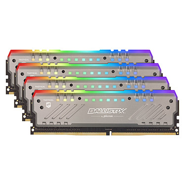 Ballistix Tactical Tracer RGB 32 Go (4x 8 Go) DDR4 3000 MHz CL16 Kit Quad Channel 4 barrettes de RAM DDR4 PC4-24000 - BLT4K8G4D30BET4K (garantie à vie)