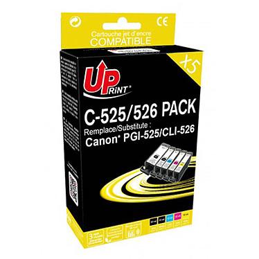 UPrint PGI-525/CLI-526 Pack 5 Pack de 5 cartouches d'encre noires et couleurs compatibles Canon