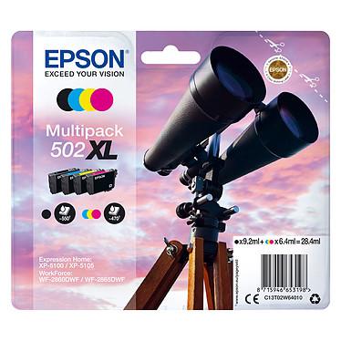 Epson Jumelles 502XL 4 couleurs Pack de 4 cartouches d'encre  hautes capacités Cyan / Magenta / Jaune et Noir (28.4 ml / 1960 pages)