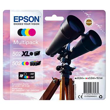 Epson Jumelles 502XL Noir + Cyan/Magenta/Noir Standard Pack de 4 cartouches d'encre avec Noir haute capacité et Cyan / Magenta / Jaune en standard (19.1 ml / 1045 pages)