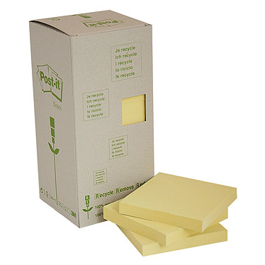 Post-it Bloc tour de 16 blocs de 100 feuillets 76 x 76 mm Recyclés