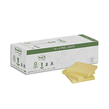 Post-it Pack avantages Notes 18 blocs de 100 feuillets 76 x 76 mm + 6 OFFERTS !