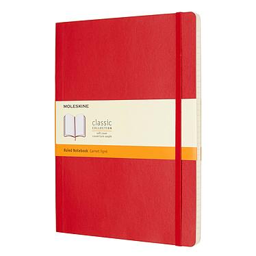 Moleskine Classic Soft XL Ruled Rouge  Carnet classic à couverture souple très grand format ligné - 19 x 25 cm