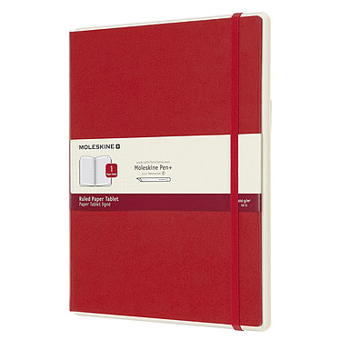 Moleskine Paper Tablet Hardcover XL Ruled Rouge Carnet intelligent à couverture rigide très grand format ligné avec technologie invisible NCoded - 19 x 25 cm