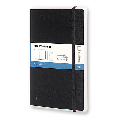 Moleskine Paper Tablet Hardcover Large Dotted Noir Carnet intelligent à couverture rigide grand format grille de pointillés avec technologie invisible NCoded - 13 x 21 cm