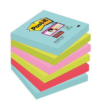 "Post-it Bloc ""Super Sticky"" 76 x 76 mm Miami x 6"