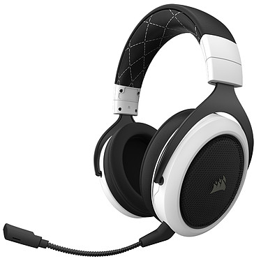 Corsair HS70 (blanc) Casque gaming - sans fil - son surround virtuel 7.1 - micro à réduction de bruit - certifié Discord - compatible PC/PS4