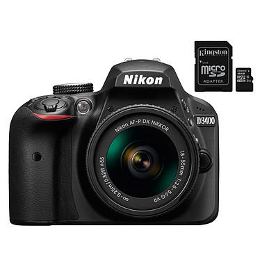 """Nikon D3400 + AF-P 18-55 VR Noir + Kingston Canvas Select SDCS/16GB Réflex Numérique 24.2 MP - Ecran 3"""" - Vidéo Full HD - Bluetooth 4.1 - SnapBridge - Objectif AF-P 18-55 mm VR + Carte mémoire microSDXC UHS-I U1 16 Go avec adaptateur SD"""