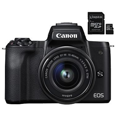 """Canon EOS M50 Noir + EF-M 15-45 mm IS STM Noir + Kingston Canvas Select SDCS/16GB Appareil photo hybride 24.1 MP - Vidéo 4K - AF CMOS Dual Pixel - Ecran LCD tactile orientable 3"""" - Wi-Fi/NFC - Bluetooth + Objectif EF-M 15-45 mm IS STM + Carte mémoire microSDXC UHS-I U1 16 Go avec adaptateur SD"""