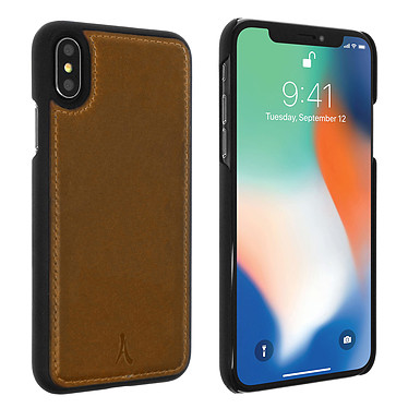 Akashi Coque Cuir Italien Marron iPhone X / iPhone Xs Coque en cuir véritable marron pour Apple iPhone X / iPhone Xs