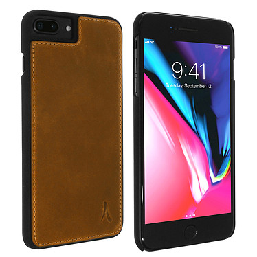 Akashi Coque Cuir Italien Marron iPhone 8 Plus Coque en cuir véritable marron pour Apple iPhone 8 Plus / 7 Plus / 6s Plus / 6 Plus