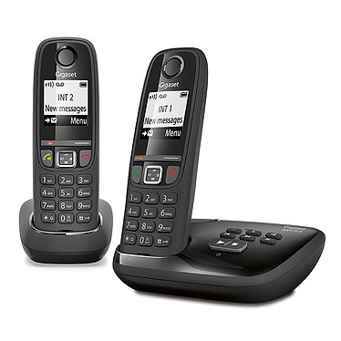 Gigaset AS470A Duo Noir Téléphone sans fil mains-libres avec répondeur et combiné supplémentaire