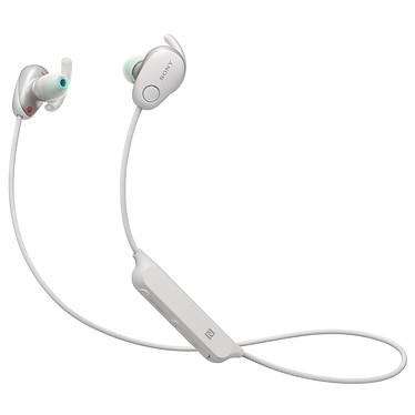Sony WI-SP600N Blanc Écouteurs sport intra-auriculaires fermés à réduction de bruit sans fil Bluetooth NFC avec télécommande et micro