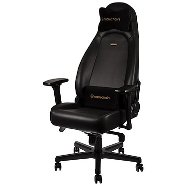 Noblechairs Icon Cuir Nappa (noir) Siège en cuir avec dossier inclinable à 135° et accoudoirs 4D pour gamer (jusqu'à 150 kg)