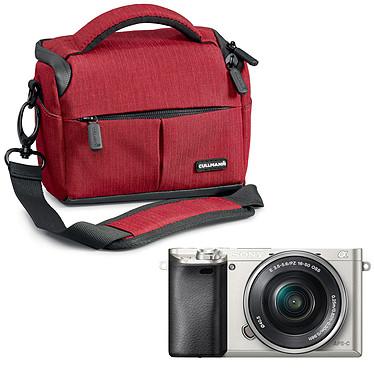 "Sony Alpha 6000 + Objectif 16-50 mm Argent + Cullmann Malaga Vario 200 Rouge Appareil photo hybride 24.3 MP - Ecran LCD 3"" - Vidéo Full HD - Wi-Fi - NFC + Sac d'épaule"