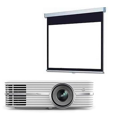 Optoma UHD390X + LDLC Ecran manuel - Format 16:9 - 240 x 135 cm Vidéoprojecteur 4K UHD - DLP - 2400 ANSI lumens - Compatibilité HDR - Lens Shift vertical - HDMI 2.0 - HDCP 2.2 - 2 x 5 Watts + Ecran manuel - Format 16:9 - 240 x 135 cm