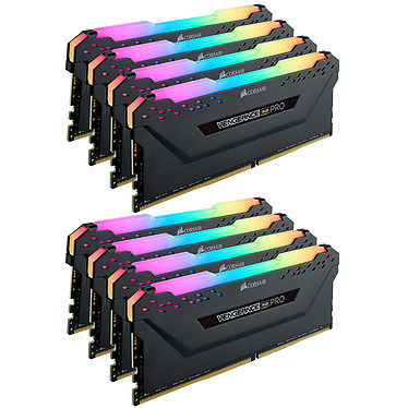 Corsair Vengeance RGB PRO Series 128 Go (8x 16 Go) DDR4 3800 MHz CL19 Kit Quad Channel 8 barrettes de RAM DDR4 PC4-30400 - CMW128GX4M8X3800C19 (garantie à vie par Corsair)