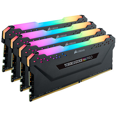 Corsair Vengeance RGB PRO Series 64 Go (4x 16 Go) DDR4 2933 MHz CL16 Kit Quad Channel 4 barrettes de RAM DDR4 PC4-23400 - CMW64GX4M4Z2933C16 (garantie à vie par Corsair)