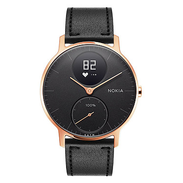 Withings Nokia Steel HR 36 mm Cuir Noir & Or Rose