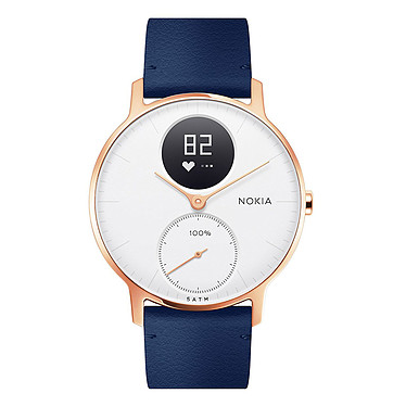 Withings Nokia Steel HR 36 mm Cuir Bleu & Or Rose